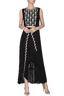 Black Embroidered Fringes Cape Blouse with Dhoti Pants by Aashna Behl