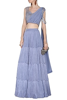 Lavender Embroidered Drape Blouse with Fringes Lehenga Skirt by Aashna Behl