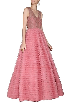 Rose Pink Embroidered Frills Gown by Aashna Behl