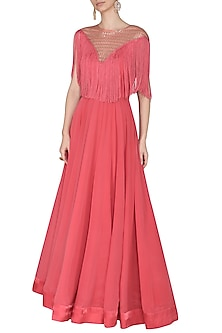 Carrot Red Embroidered Fringes Gown by Aashna Behl