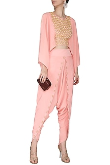 Peach Embroidered Drape Top with Dhoti Pants by Aashna Behl