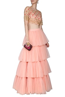 Peach Embroidered Blouse with Tiered Ruffles Lehenga Skirt by Aashna Behl