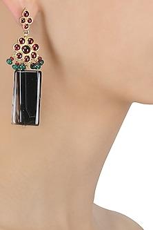Gold Leafing Black Agate and Kempstones Earrings by Aaharya