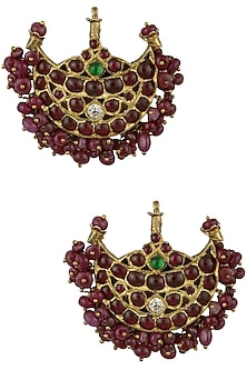 Gold Leafing Kempstones and Ruby Jewel Crescent Earrings by Aaharya