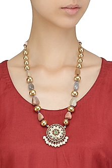 Gold Leafing Multi-Jewel Stone Floral Motif Long Necklace by Aaharya