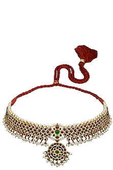 Gold Leafing Green and Red Kemp Stones Choker by Aaharya