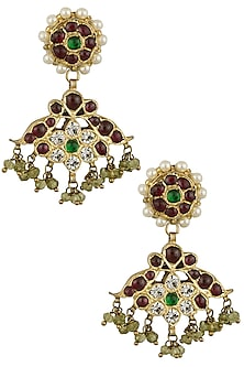 Gold Leafing Green and Red Kemp Stones Tear Drop Earrings by Aaharya