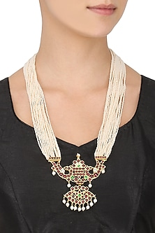 Gold Leafing Kempstone and Pearl Pendant Multi Strand Necklace by Aaharya