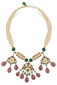Gold Leafing Kemp Stone Multi-Jewel Stone Necklace by Aaharya-JEWELLERY ON DISCOUNT