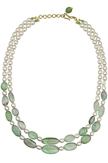 Florite and Pearl Double String Necklace by Aaharya