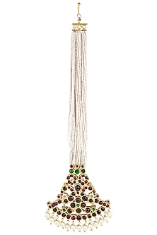 Gold Plated and Swan Motif Pendant Maangtikka by Aaharya