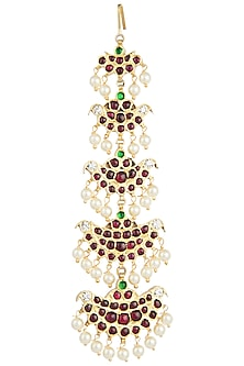 Gold Plated White Pearls Embellished Maangtikka by Aaharya