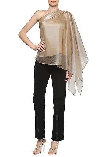 Copper One Shoulder Top by Amit Aggarwal