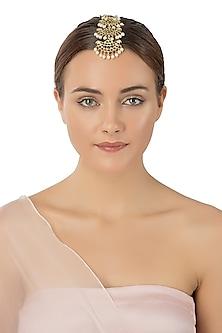 Gold Plated White Pearls Embellished Maangtikka by Aaharya