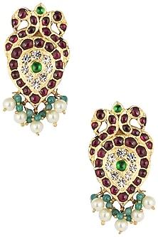 Gold Plated Kemp Stones Embellieshed Earrings by Aaharya
