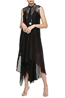 Black Asymmetrical Midi Dress by Amit Aggarwal