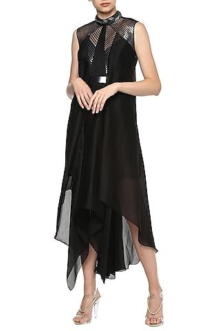 Black Asymmetrical Midi Dress by Amit Aggarwal