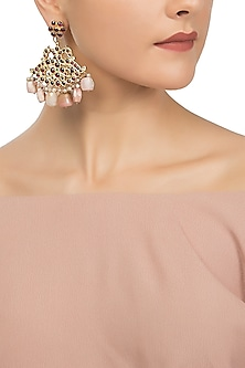 Gold Plated Pink Pearls Embellished Earrings by Aaharya