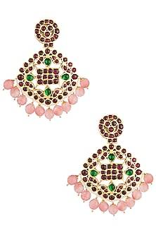 Gold Plated Oyster Shaped Earrings by Aaharya