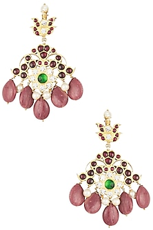Gold Plated Multi Stones Embellished Earrings by Aaharya