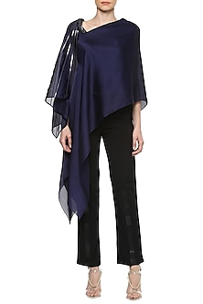 Ink Blue Asymmetrical Cape Top by Amit Aggarwal