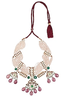 Gold Plated Kemp Stones Necklace by Aaharya