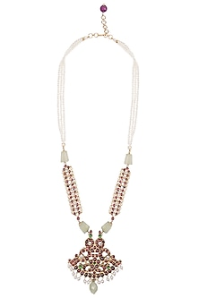 Gold Plated Red Kemp Stones and Quartz Embellished Necklace by Aaharya