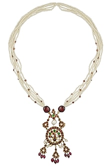 Gold Leafing Peacock Pendant Pearl Necklace by Aaharya