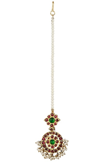 Gold Leafing Pearl Cluster and Kempstone Maang Tikka by Aaharya