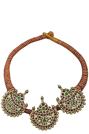 Gold Leafing Crescent Pendant Statement Necklace by Aaharya