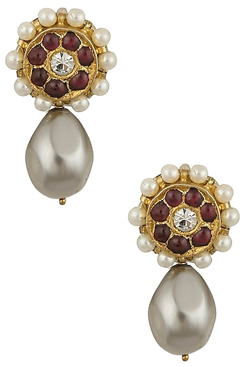 Gold Leafing Kempstone and Pearl Tear Drop Shape Earrings by Aaharya