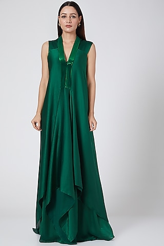 Emerald Green Dress With Metallic Polymer Placket by Amit Aggarwal