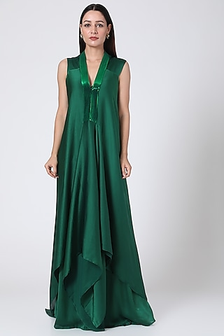 Green Metallic Draped Dress With Slip by Amit Aggarwal