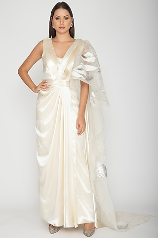 Ivory Georgette Draped Saree by Amit Aggarwal