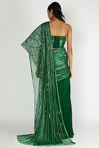 Emerald Green Draped Saree by Amit Aggarwal