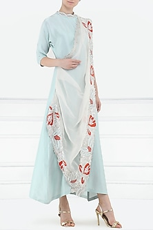 Powder Blue Anarkali Gown with Embroidered Drape Dupatta by Aisha Rao