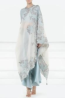 Powder Blue Blouse, Drape Pants and Embellished Drape Dupatta by Aisha Rao