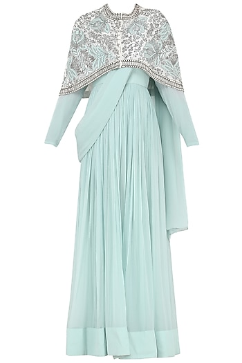 Powder Blue Anarkali Gown with Embroidered Cape by Aisha Rao