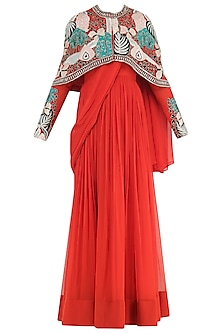 Burnt Orange Anarkali Gown with Embroidered Cape by Aisha Rao