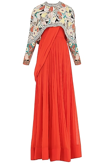 Burnt Orange Anarkali Gown with Ivory Embroidered Cape by Aisha Rao