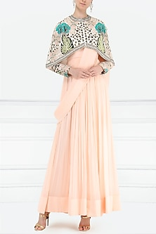 Dahlia Pink Anarkali Gown with Embroidered Cape by Aisha Rao