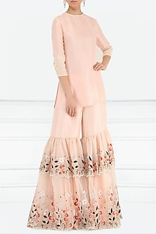 Dahlia Pink Sequins and Pearl Embroidered Kurta with Gharara Pants by Aisha Rao