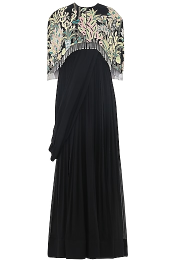 Charcoal Black Anarkali Gown with Embroidered Cape by Aisha Rao