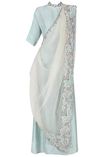 Powder Blue Anarkali Gown with Embellished Drape Dupatta by Aisha Rao