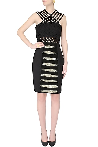 Black And Gold Cutdaana Embroidered Cross Over Dress by AAWA By Aastha Wadhwa