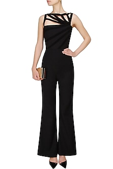 Black Multiple Goat Suede Striped Jumpsuit by AAWA By Aastha Wadhwa