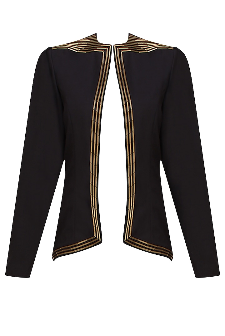 Black Golden Pipes Embellished Blazer by AAWA By Aastha Wadhwa