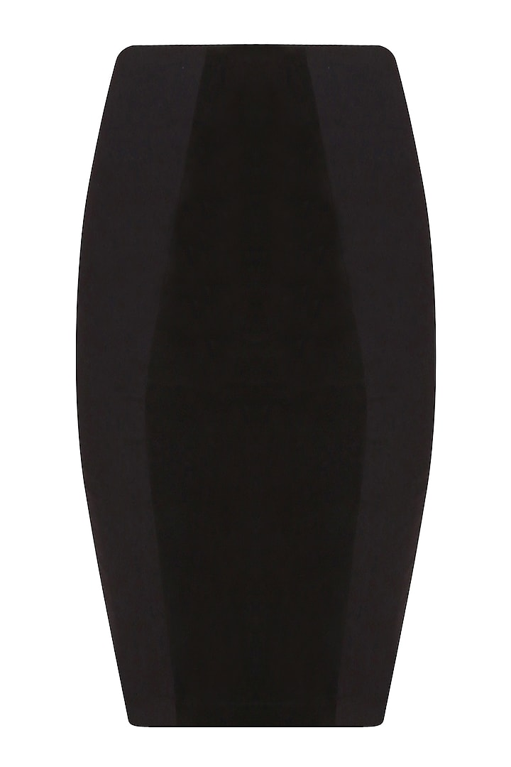 Black Goat Suede Pencil Skirt by AAWA By Aastha Wadhwa