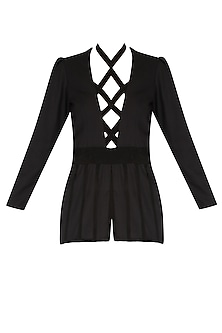 Black Criss Cross Goat Suede Peplum Top by AAWA By Aastha Wadhwa