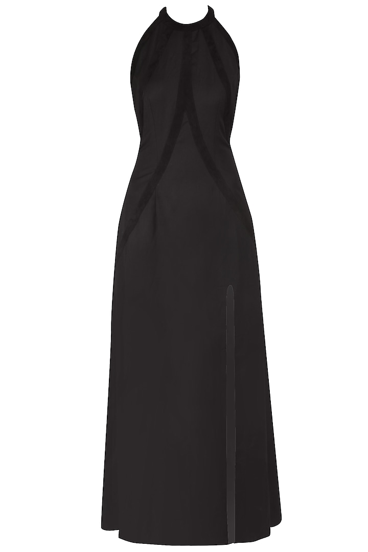Black Halter Neck Goat Suede Gown by AAWA By Aastha Wadhwa